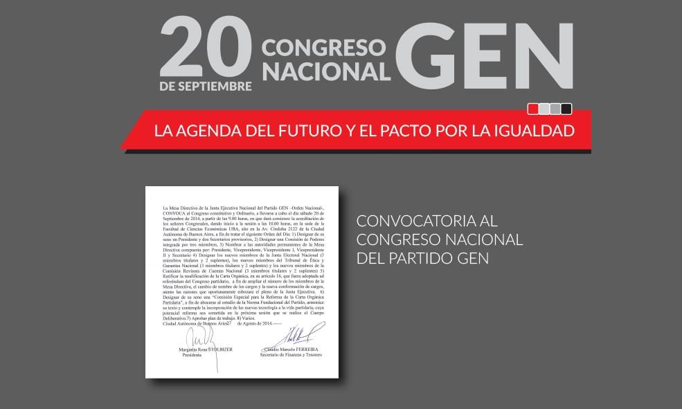CONVOCATORIA AL CONGRESO NACIONAL DEL PARTIDO GEN