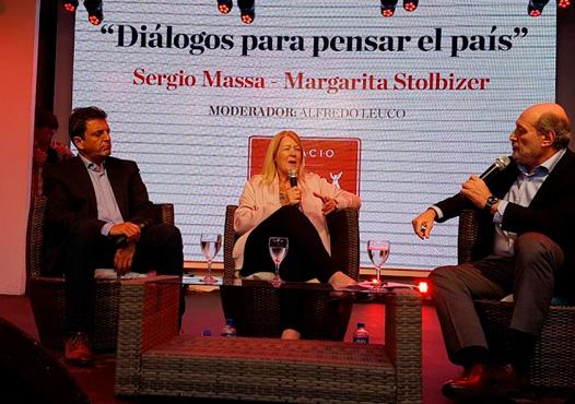 Margarita Stolbizer y Sergio Massa participaron de un reportaje abierto realizado por el periodista Alfredo Leuco en Espacio Clarín.